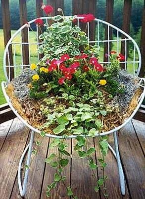 flowers: Modern Gardens, Gardens Ideas, Container Gardens, Chairs Planters, Gardens Design Ideas, Wire Chair, Gardens Chairs, Old Chairs, Lawn Chairs