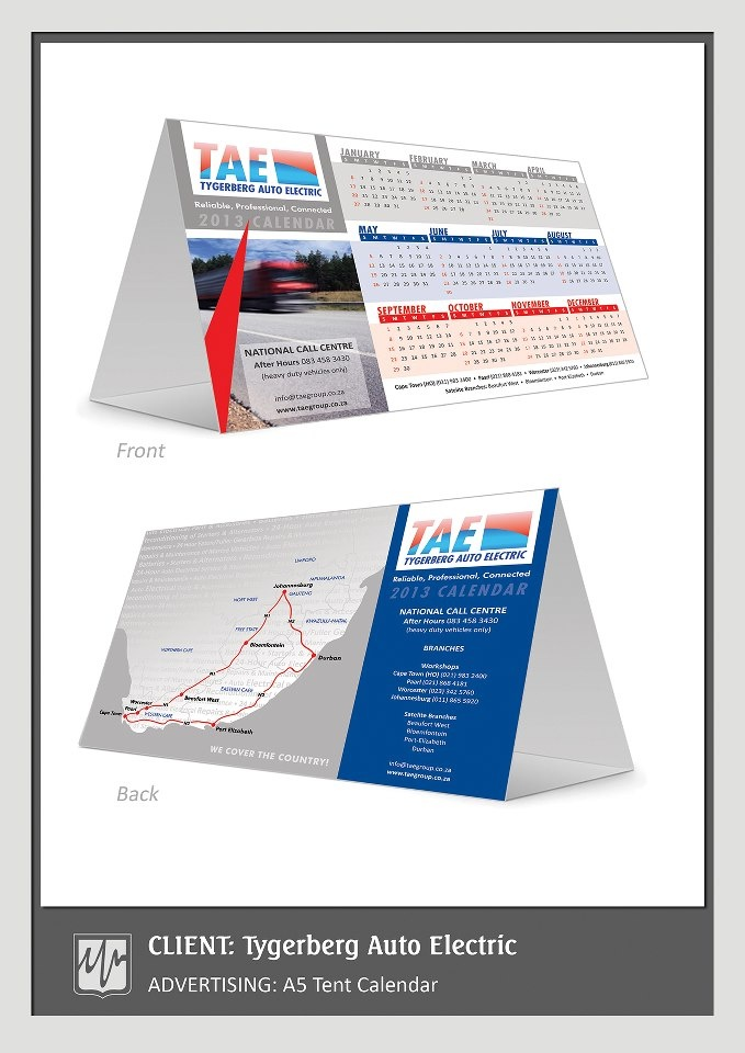 ADVERTISING: A5 Tent Calender