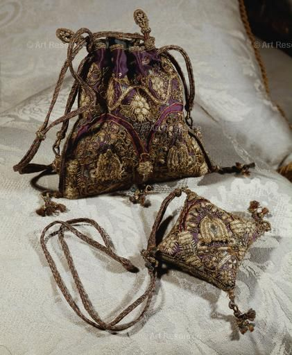 Needlework bag and pin-cushion of Queen Elizabeth I, English, 16th C. In the collection of the Duke of Northumberland, Alnwick Castle, Northumberland, Great Britain.