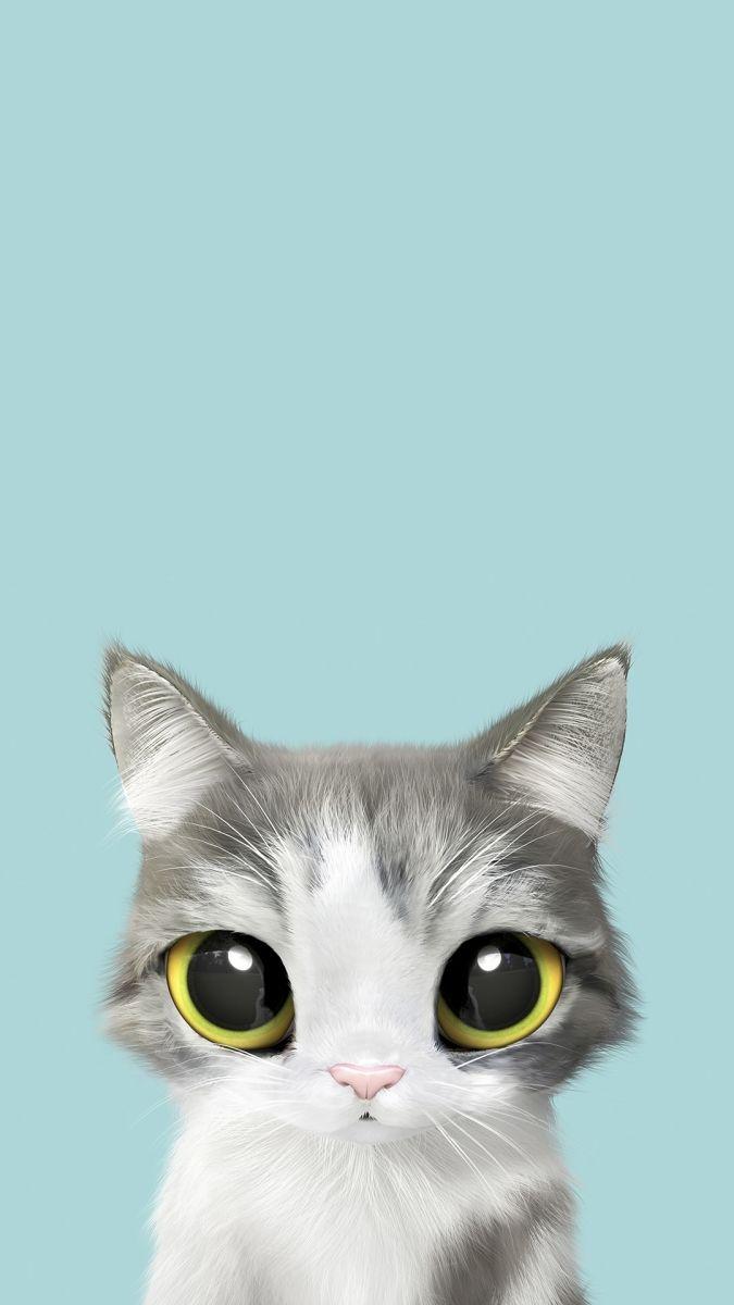 Яркие обои на телефон с большеглазыми котиками | Пушистые ...
