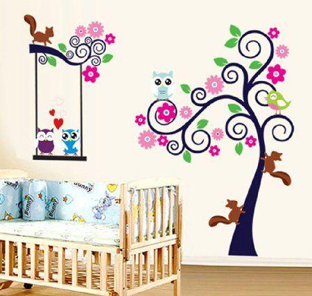 ufengke® Albero Fiore Colorato Cute Owls Scoiattoli Adesivi Murali, Camera dei Bambini Vivai Adesivi da Parete Removibili/Stickers Murali/Decorazione Murale