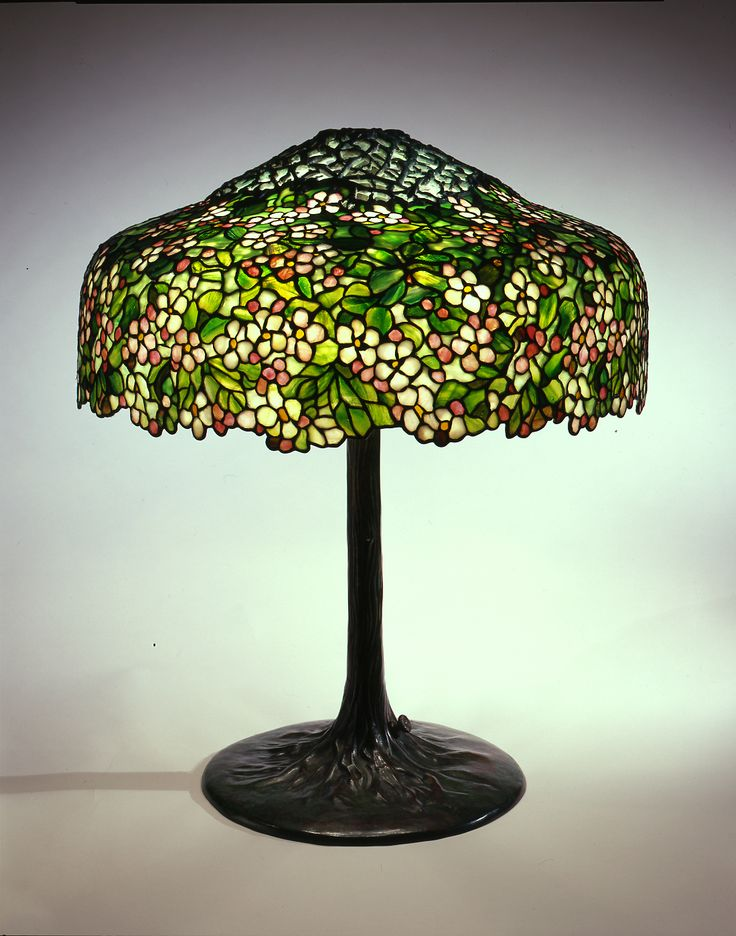 Tiffany Studios, New York Apple Blossom Library Lamp, ca. 1905 Leaded glass, bronze H: 29 ½ in.; Diam: 25 in.  N.86.IU.2a,b  The Neustadt Collection of Tiffany Glass, Queens, NY