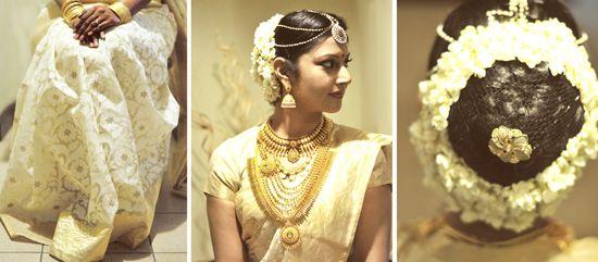 South Indian bride. Gold Indian bridal jewelry.Temple jewelry. Jhumkis. White silk kanchipuram sari. Bun with fresh flowers. Tamil bride. Telugu bride. Kannada bride. Hindu bride. Malayalee bride.Kerala bride.South Indian wedding