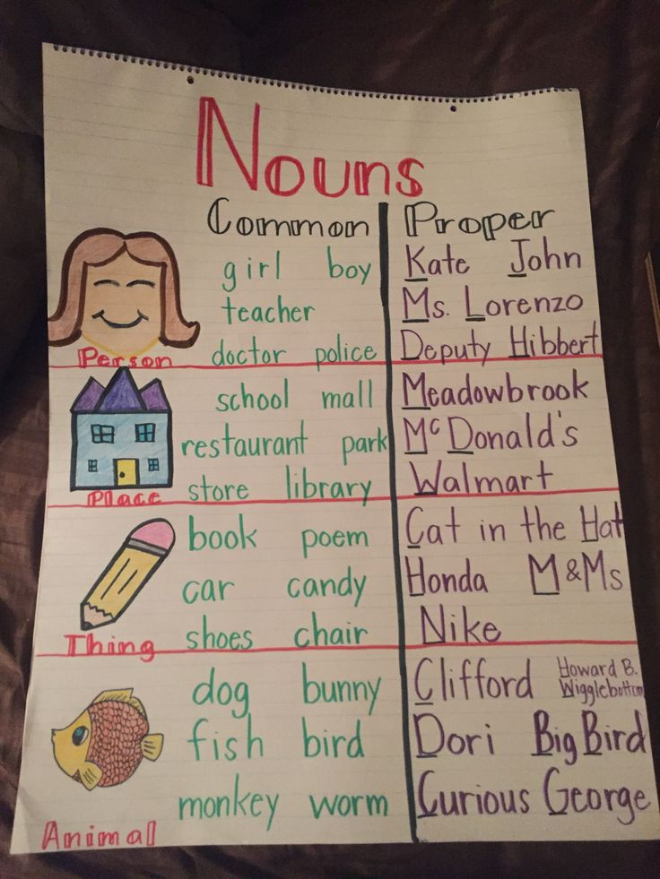 Common and proper noun anchor chart