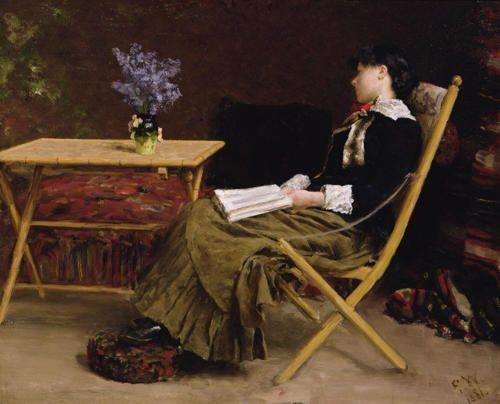 """Erik Theodor Werenskiold (Norwegian, 1855 – 1938) """"Donna che legge"""""""