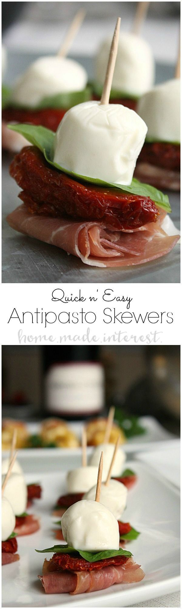 These antipasto skewers are quick to make. They are perfect for any dinner party or an easy New Year's Eve appetizer recipe! More