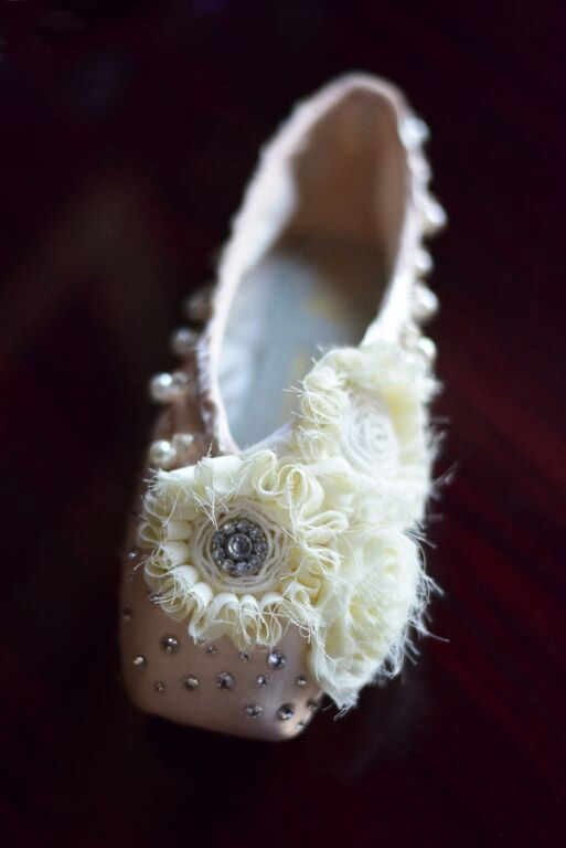 Handmade and carefully crafted and unique, these Shabby Chic pointe shoes add a decorative flair to any dance studio or ballet-themed room.