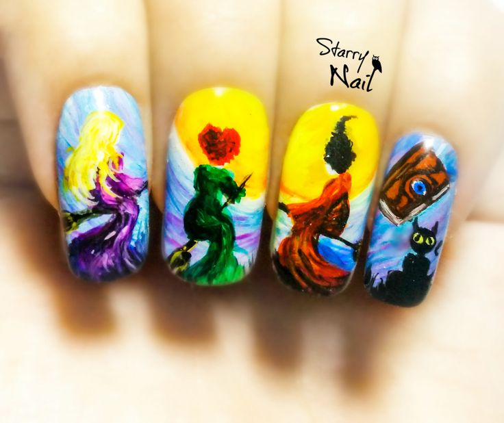 hocus pocus halloween witches nail art handmade fake nails false nails press on