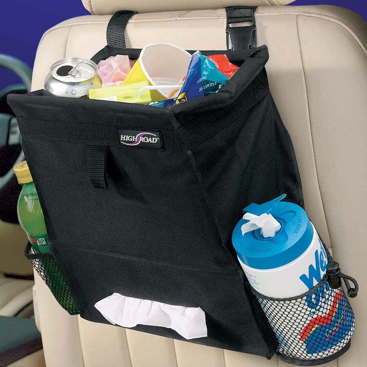 This Litter Basket Has A Tissue Holder And Mesh Storage Pockets To Keep Everything Contained