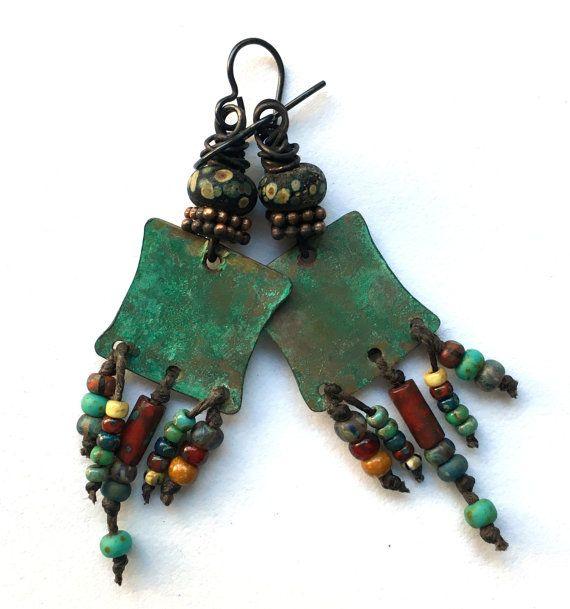Boho Rustic Copper Earrings, Wire Wrapped Earrings,  Bohemian Earthy Lampwork Jewelry, Colorful Unusual Earrings, Niobium Earrings