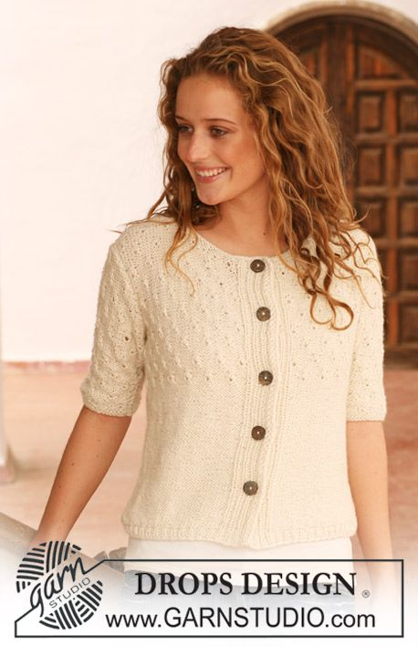 "DROPS jacket with textured pattern in ""Silke-Alpaca"". Size S - XXXL. ~ DROPS Design"
