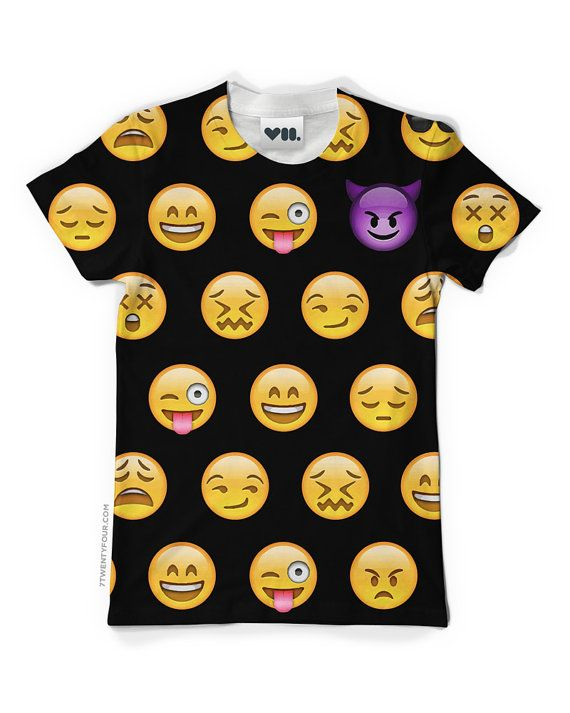 Black Emoji T-Shirt  Unisex  Dye Sublimation  by its7twentyfour