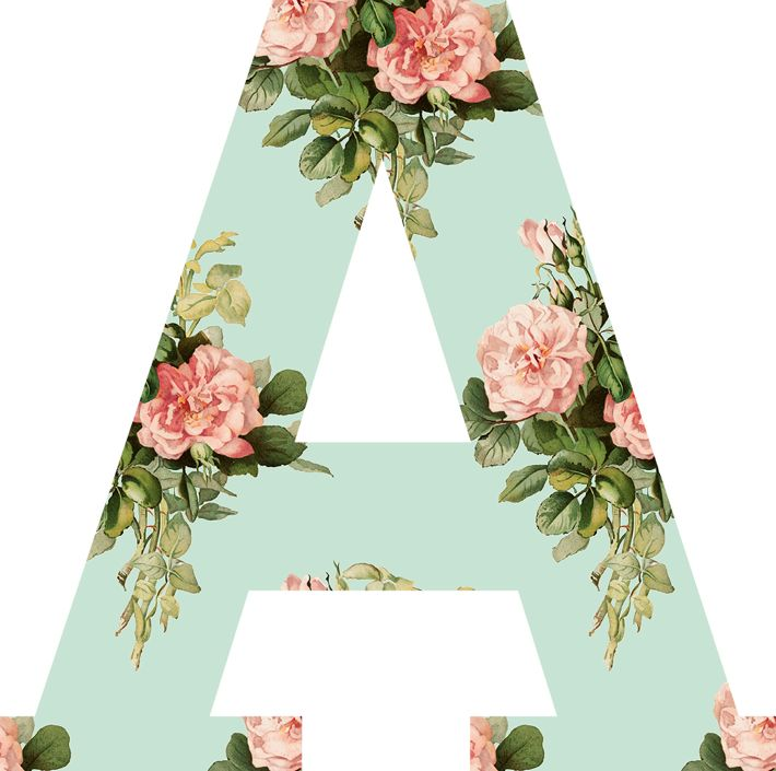 Pink And Mint Floral Alphabet Clipart
