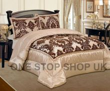 Luxurious 3 Pcs Flock Quilted Bedspread / Comforter Set - BEIGE WITH BROWN - RV  Product Description Gives you elegant, stunning and modern design of 3 pcs bedspread with microfiber feather in side and on the top use heavy Microfiber flocking for luxury smooth and soft feel like Velvet. Beautifully & modern flock design Bedspread / Comforter sets. Adorn your bed with a sophisticated, regal style with our elegant flocked bedspread