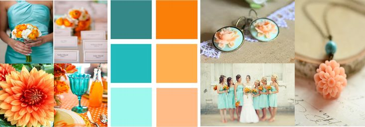 My color scheme. Burnt orange & teal with peach & aqua.
