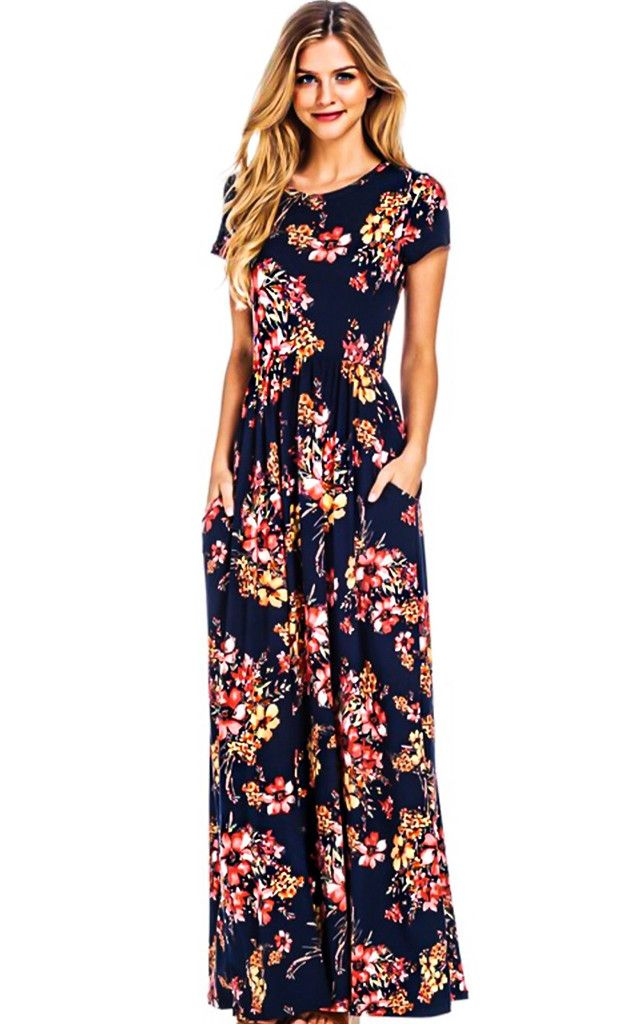 2554f657a7 The Eva Navy Floral Maxi Dress is another one of my faves! Navy background  with coral floral print and short sleeves. Will b… | Spring & Summer Fashion  in ...