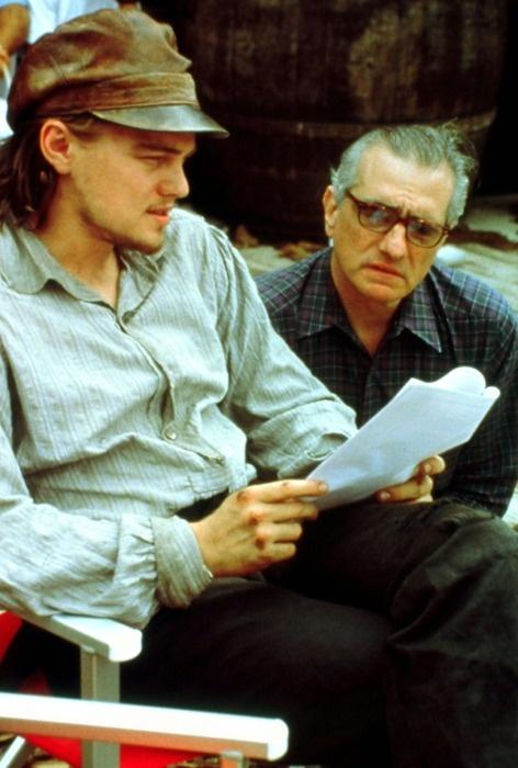 Martin Scorsese and Leonardo Di Caprio on the set of Gangs of New York.