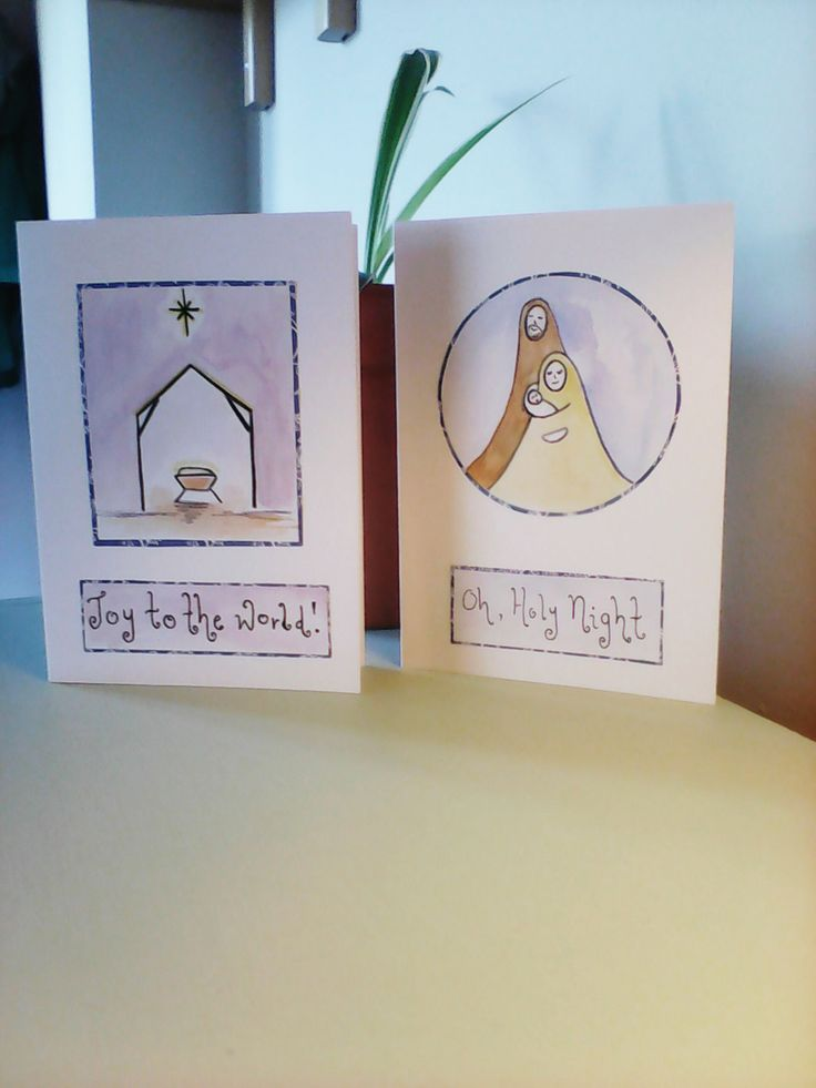Two traditional hand-painted Christmas cards, religious Christmas cards, drawn Christmas card set, watercolour Christmas cards. by Deborahthezebra on Etsy