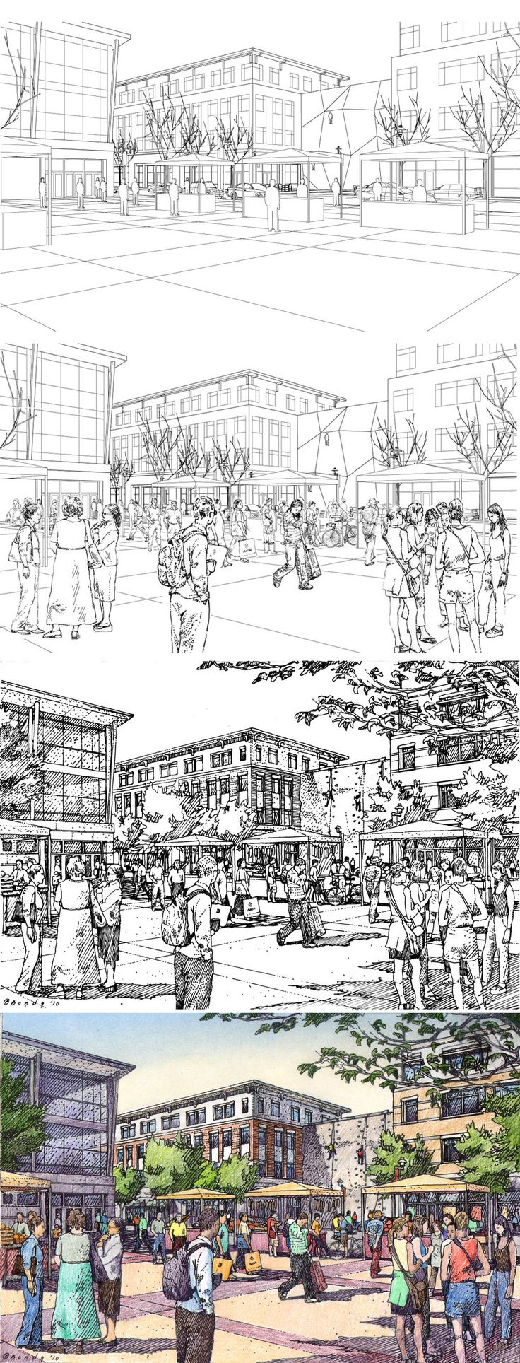 Rochester, NY.  URS Corporation.  Drawing Process.  Wireframe, Wireframe + Entourage, Inked Drawing, Color.  Rendering by Bruce Bondy, Bondy Studio