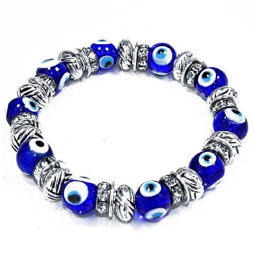Evil Eye Glass Beads Bracelet with Rhinestone Spacers [Jewelry] Leelo Jewelries. $8.99. Rhinestones Spacers. Bead Size: 10mm. Glass beads. Blue Evil Eye