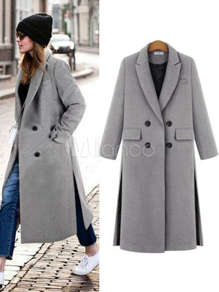 Women Coat Longline Turndown Collar Button Slit Winter Coat ... 21337fc85e45