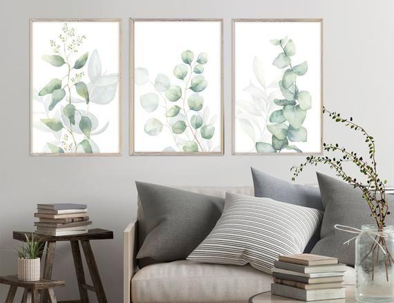 Eucalyptus Watercolor Wall Art Prints