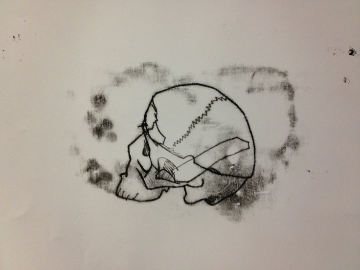 Monotype print of drawing of skull by Michael Fredman