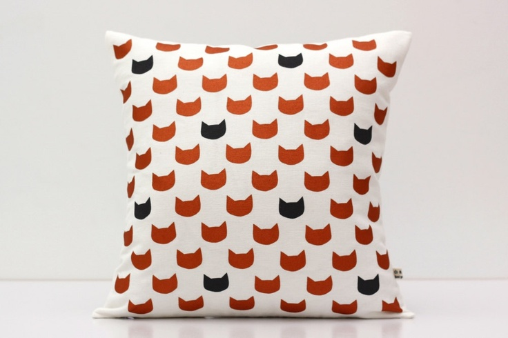 Copper and charcoal cats cushion cover  - screen printed and handmade. $49.00, via Etsy.