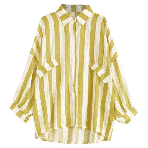 Oversized Button Up Striped Blouse Ginger ($14) ❤ liked on Polyvore featuring tops, blouses, oversized blouse, button down top, striped blouse, button down blouse and stripe top