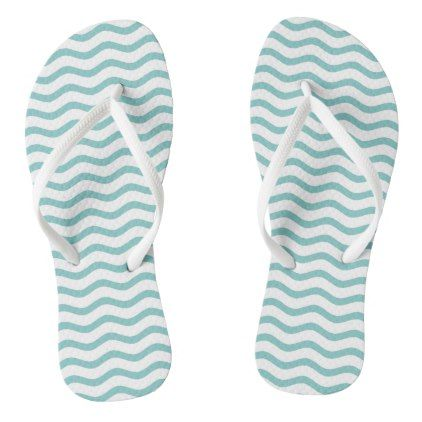 #Tiffany Blue and White Chevron Wave Stripes Flip Flops - #womens #shoes #womensshoes #custom #cool