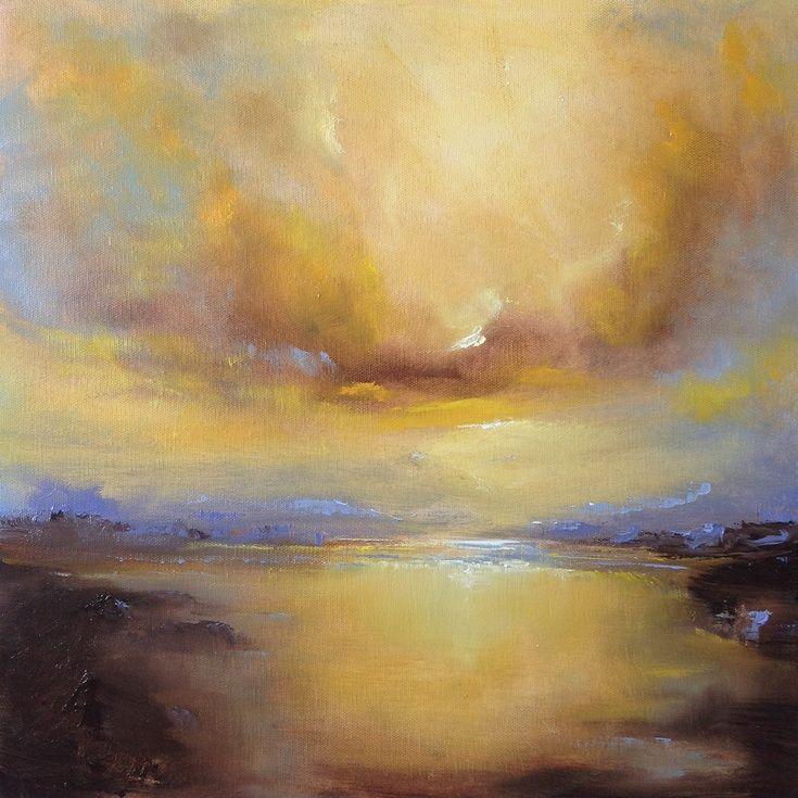 ARTFINDER: Breaking Light by Dan Wellington - No.1 of 3 in the 'Breaking Light' trio of original oil paintings. Atmospheric, semi abstract seascape. On deep canvas, ready to hang.
