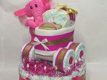 "Windeltorte ""Prinzessin"" + Kinderwagen + Elefant"