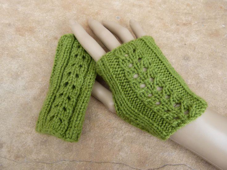 Handmade Crochet Fingerless Gloves  in Olive Green. Made by Lila at www.lillarosegifts.com