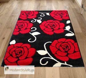Black Red White Flower Designer Large Medium Roses Pattern Home Rug 5 Sizes
