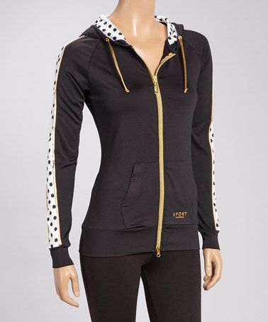 Loving this Black Polka Dot Zip-Up Hoodie on #zulily! #zulilyfinds