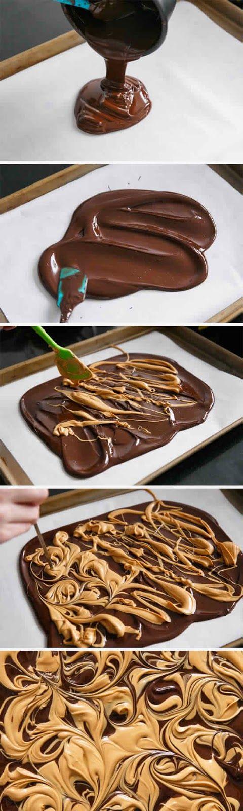 Chocolate Peanut Butter Cup Bark - Yummy !