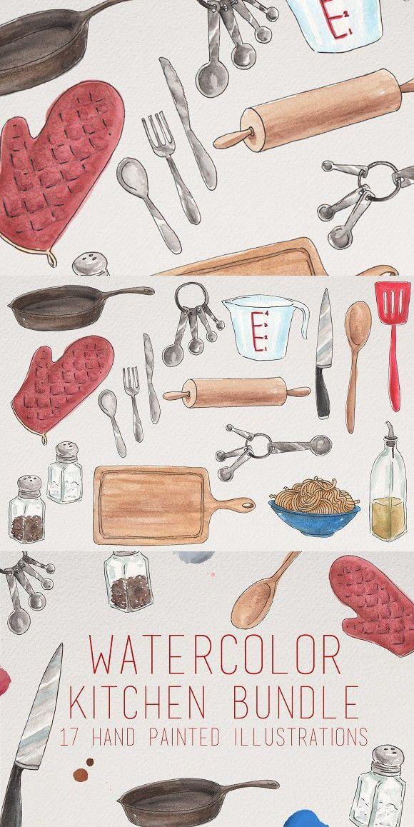 Watercolor Kitchen Utensils Clip Art Wooden Cookware Wood Spoon
