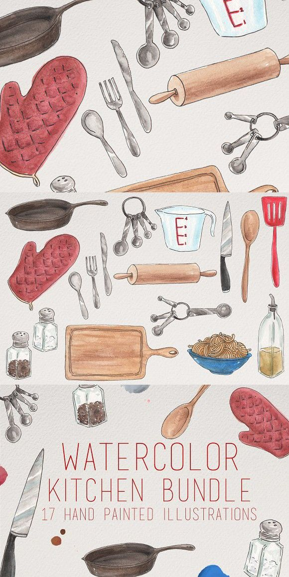 Watercolor Kitchen Illustrations Illustration Food Art Painting