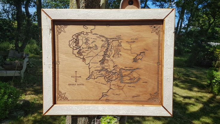 Middle Earth map made with CNC, framed with nearly 100 year old wood.