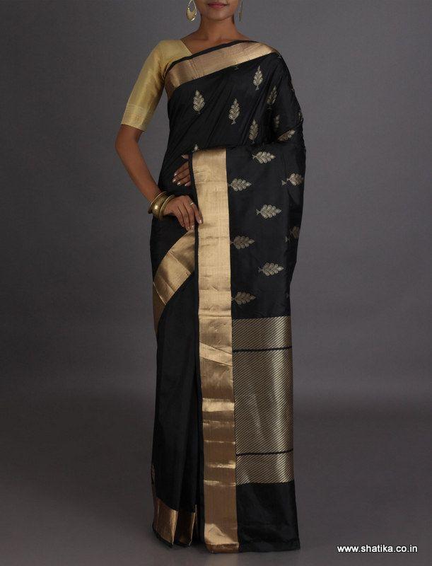 Vandana Golden Leaf Motif Real Zari Pure #BanarasiKataanSilkSaree