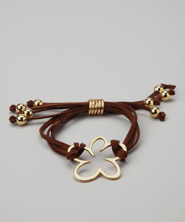 Farfan Jewelry Brown & Gold Flower Silk Bracelet