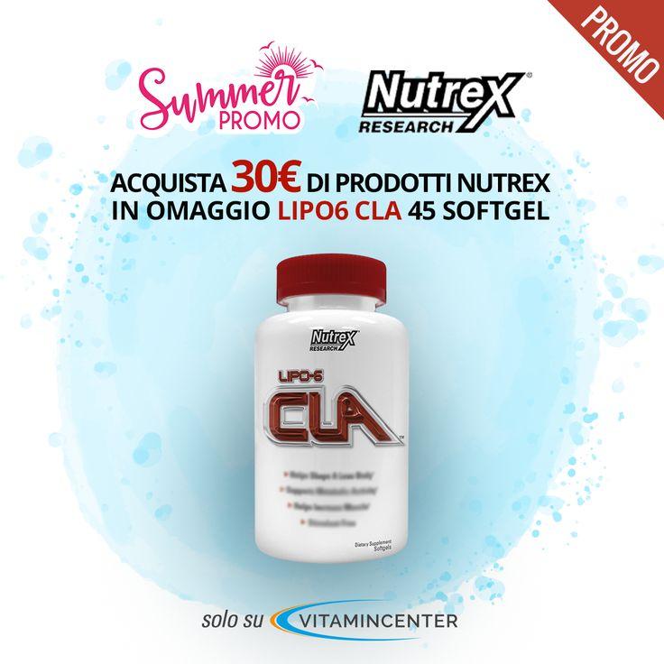 #SUMMER PROMO #NUTREX Research: >> COMPRA 30 € di prodotti Nutrex, riceverai IN OMAGGIO 1 Lipo6 Cla!! Trovi tutti i prodotti Nutrex su #VitaminCenter!
