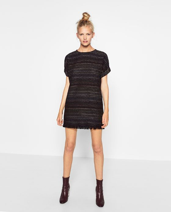 Image 1 of FRAYED STRAIGHT CUT DRESS from Zara
