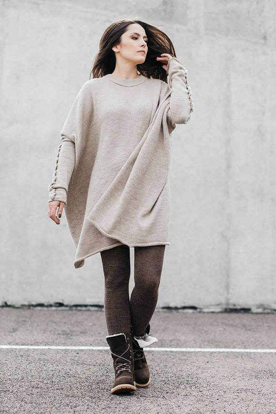 Alpaca oversize sweater for women, wool cable knit top, light beige, gray,  white, black tunic, knitted pullover, oversize dress, jumper   Knit n  Crochet ... 52d1ca3c510c