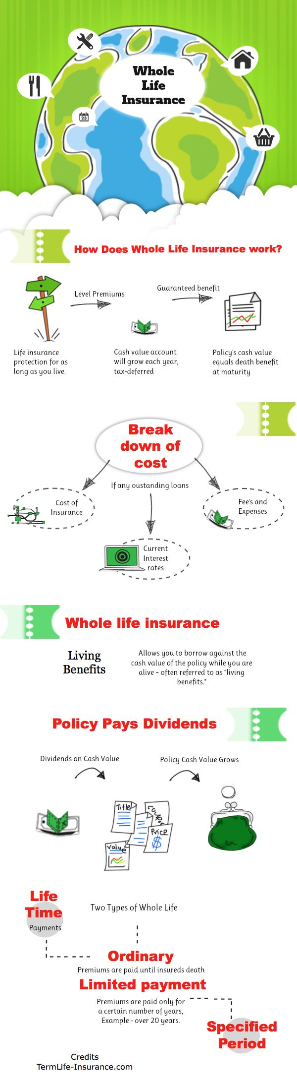 In our whole  life insurnace graphic we break down the pieces of a whole life insurance policy. We tried to take complex subject and simplify it.