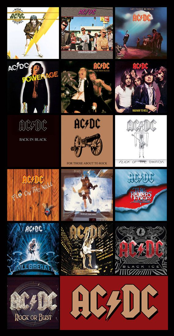 AC/DC discography magnet 4.5 x 3 by BandDiscMags on Etsy