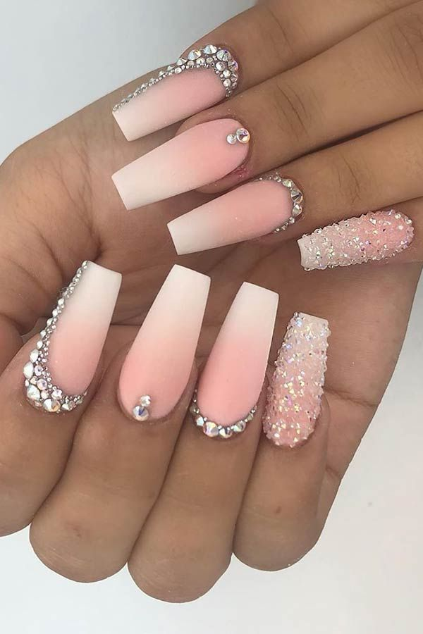43 Nail Designs And Ideas For Coffin Acrylic Nails Stayglam Nails Design With Rhinestones Rhinestone Nails Coffin Nails Long