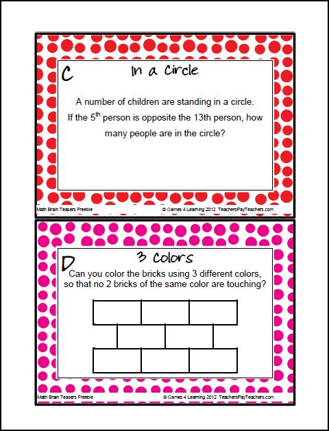 FREEBIE - Math Brain Teaser Task Cards from Games 4 Learning