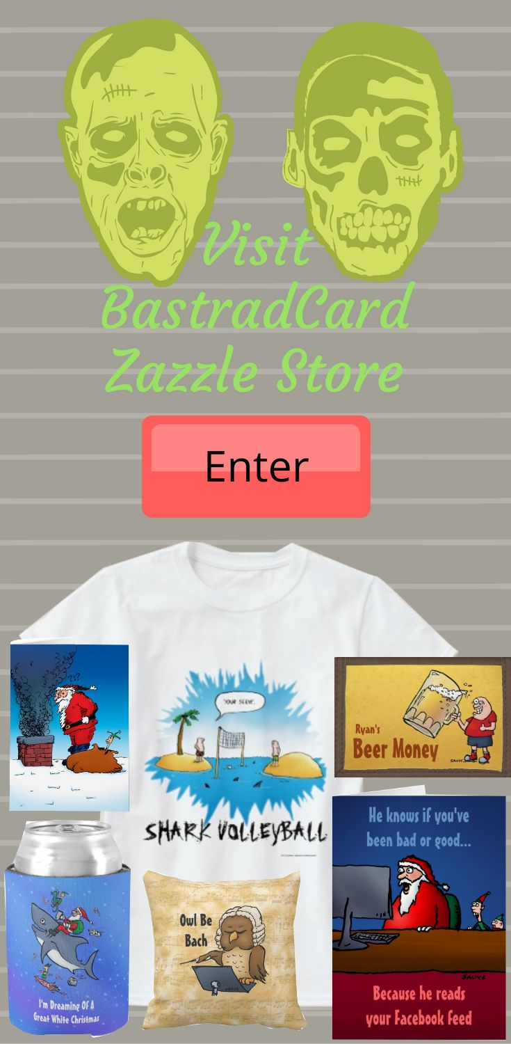 Take a look at BastardCard Zazzle Store: Greeting cards and gifts for the sick of mind, from the mildy off-kilter to fully deranged. Enjoy perusing our products featuring BastardCards crazy cartoons and obnoxious graphics.