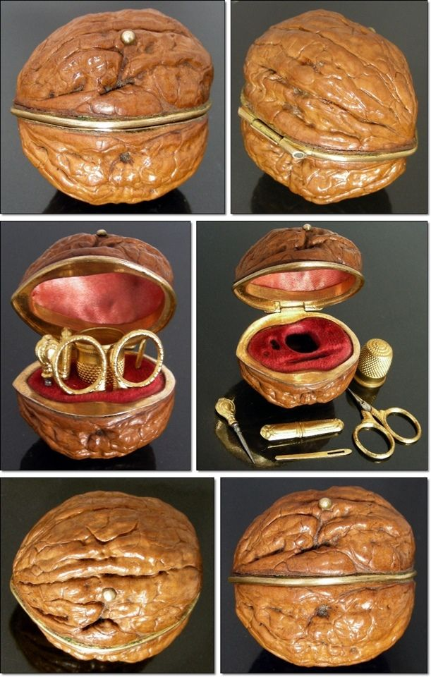 This rare little sewing etui has been created inside of a real walnut with gilded ormolu mounts. The top is lined with silk and a velvet cov...
